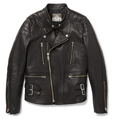 Blackmeans Slim-Fit Quilted Leather Biker Jacket