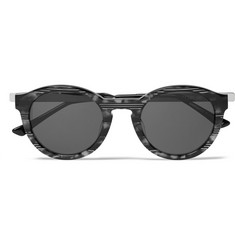 Thierry Lasry Zomby Round-Frame Striped Acetate Sunglasses