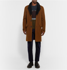 Burberry Prorsum Shearling-Trimmed Wool Overcoat