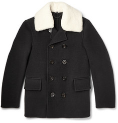 Burberry Prorsum Shearling-Trimmed Wool Peacoat