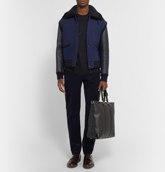 Burberry Prorsum Shearling-Trimmed Leather and Wool-Blend Bomber Jacket