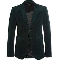 Burberry Prorsum Green Slim-Fit Corduroy Suit Jacket