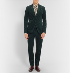 Burberry Prorsum Green Slim-Fit Corduroy Suit Trousers