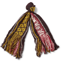 Burberry Shoes & Accessories Fringed Wool, Cotton and Cashmere-Blend Jacquard Scarf