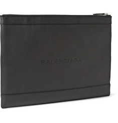 Balenciaga Large Perforated Leather Pouch