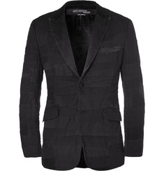Junya Watanabe Black Slim-Fit Patchwork Cotton and Linen-Blend Blazer