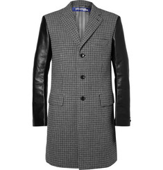 Junya Watanabe Slim-Fit Leather-Sleeve Guncheck Wool-Tweed Overcoat