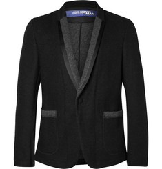 Junya Watanabe Black Satin And Felt-Trimmed Wool-Blend Blazer