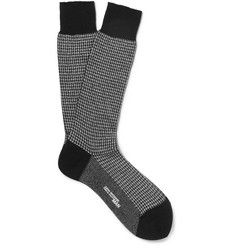 Junya Watanabe Metallic Houndstooth Cotton-Blend Socks