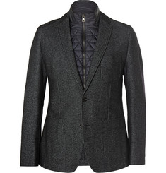 Hugo Boss Navy Hopsack Blazer with Nylon Zipped Gilet Insert