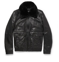 Hugo Boss Shearling-Trimmed Leather Flight Jacket