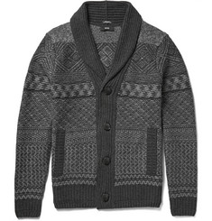 Hugo Boss Shawl-Collar Fair Isle Wool and Cashmere-Blend Cardigan