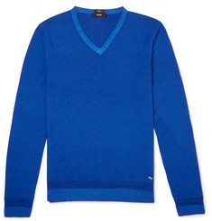 Hugo Boss V-Neck Wool and Silk-Blend Sweater