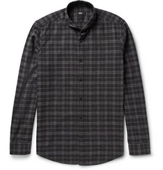 Hugo Boss Cutaway-Collar Checked Cotton-Flannel Shirt