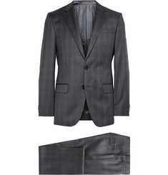 Hugo Boss Charcoal Slim-Fit Checked Wool Suit