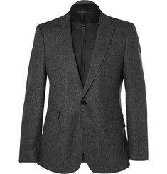 Hugo Boss Grey Slim-Fit Herringbone Virgin Wool-Blend Blazer with Detachable Gilet Insert