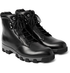 Balenciaga Lug-Sole Leather Lace-Up Boots
