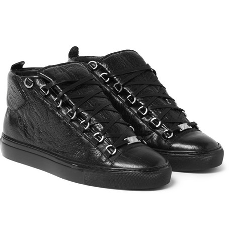 Arena Creased-leather High-top Sneakers - Black
