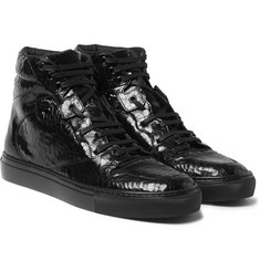 Balenciaga - Patent-Leather High-Top Sneakers