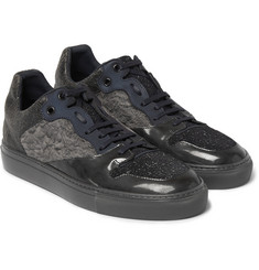 Balenciaga Textured-Leather, Suede and Woven Sneakers