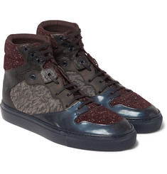 Balenciaga Textured-Leather, Suede and Woven High-Top Sneakers