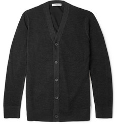 Balenciaga Cotton Jersey-Backed Open-Knit Wool Cardigan