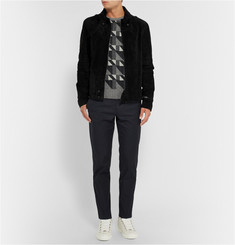 Balenciaga Slim-Fit Suede Biker Jacket