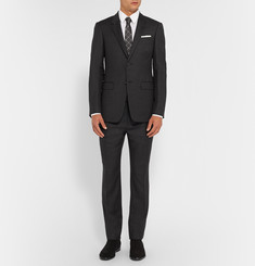 Balenciaga Grey Slim-Fit Checked Wool Suit