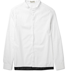 Balenciaga Shell-Trimmed Grandad-Collar Cotton-Poplin Shirt