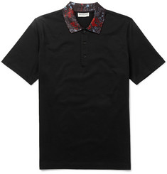 Balenciaga Printed-Collar Pima Cotton Polo Shirt