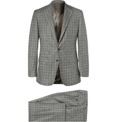 Thom Sweeney Grey Slim-Fit Prince of Wales Checked Wool Three-Piece Suit