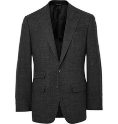 Thom Sweeney Charcoal Curzon Slim-Fit Basketweave Wool Blazer