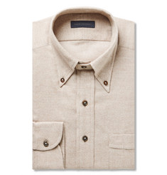 Thom Sweeney Beige Slim-Fit Cotton-Flannel Shirt
