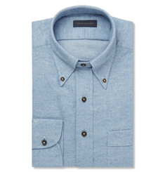 Thom Sweeney Blue Slim-Fit Cotton-Flannel Shirt