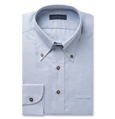 Thom Sweeney Blue Slim-Fit Striped Slub Cotton Oxford Shirt