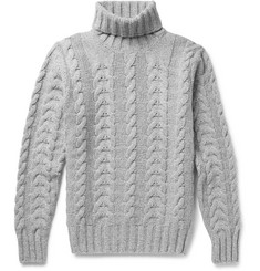 Hackett Cable-Knit Wool and Cashmere-Blend Rollneck Sweater