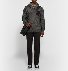J.Crew Nubuck-Trimmed Cotton and Wool-Blend Sweater