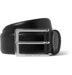 Hugo Boss 3.5cm Black Nany Grained-Leather Belt
