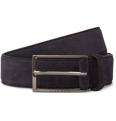 Hugo Boss 3cm Navy Calindo Suede Belt