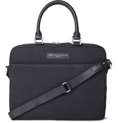 WANT Les Essentiels de la Vie Haneda Leather-Trimmed  Organic Cotton-Canvas Briefcase