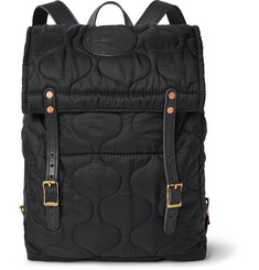 Yuketen Leather-Trimmed Quilted Shell Backpack