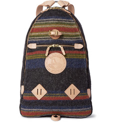 Yuketen Leather-Trimmed Striped Wool-Felt Backpack