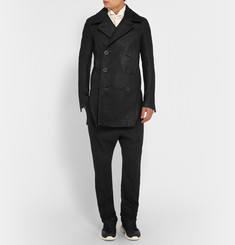 Rick Owens Slim-Fit Brushed-Leather Peacoat