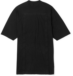 Rick Owens Oversized Canvas-Trimmed Cotton-Jersey T-Shirt