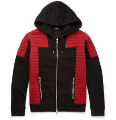Balmain Panelled Quilted Cotton-Jersey Hoodie