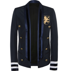 Balmain Navy Slim-Fit Embellished Wool-Blend Jacket