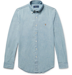 폴로 랄프로렌 셔츠 Polo Ralph Lauren Slim-Fit Washed Cotton-Chambray Shirt,Blue