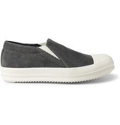 Rick Owens Cap-Toe Corduroy Slip-On Sneakers