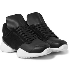 Rick Owens + adidas Suede and Leather Sneakers