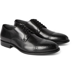 Hugo Boss - Stommi Perforated-Toecap Leather Derby Shoes